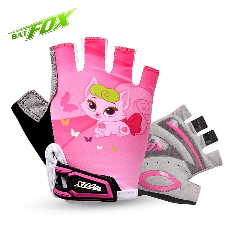 2017 BATFOX Kids Girls Boys Cycling Gloves Half Finger Summer Breathable Padded Safety Outdoor Protection Children Bike Gloves