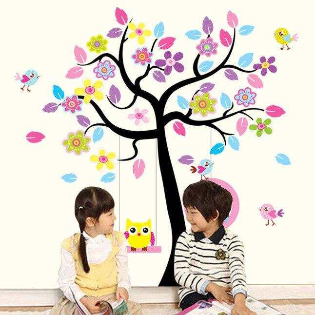 Maruoxuan New Owl Bird Swing Wall Stickers Tree For Kids Rooms Children Baby Nursery Rooms Home Decor Vinyl Mural Wallpaper