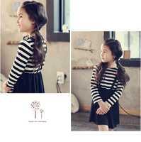 Spring New Kids Lovely Girls Love Korean Striped Dress Clothing Black