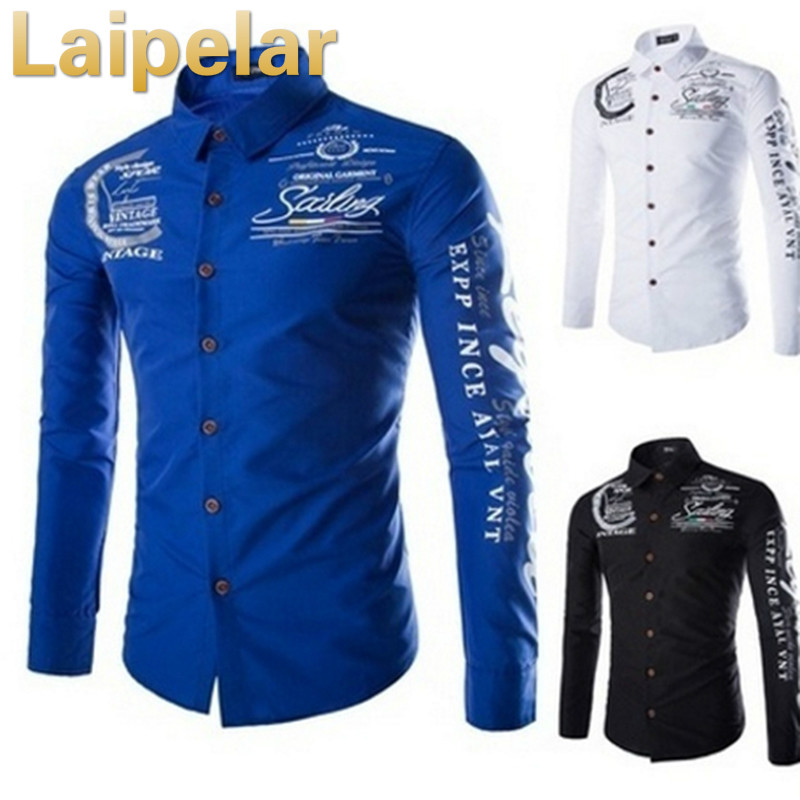Plus Size S-5XL 2018 New Casual Men Print Turn-down Collar Shirts Long Sleeve Slim Male Single Breasted Shirts Tops Laipelar