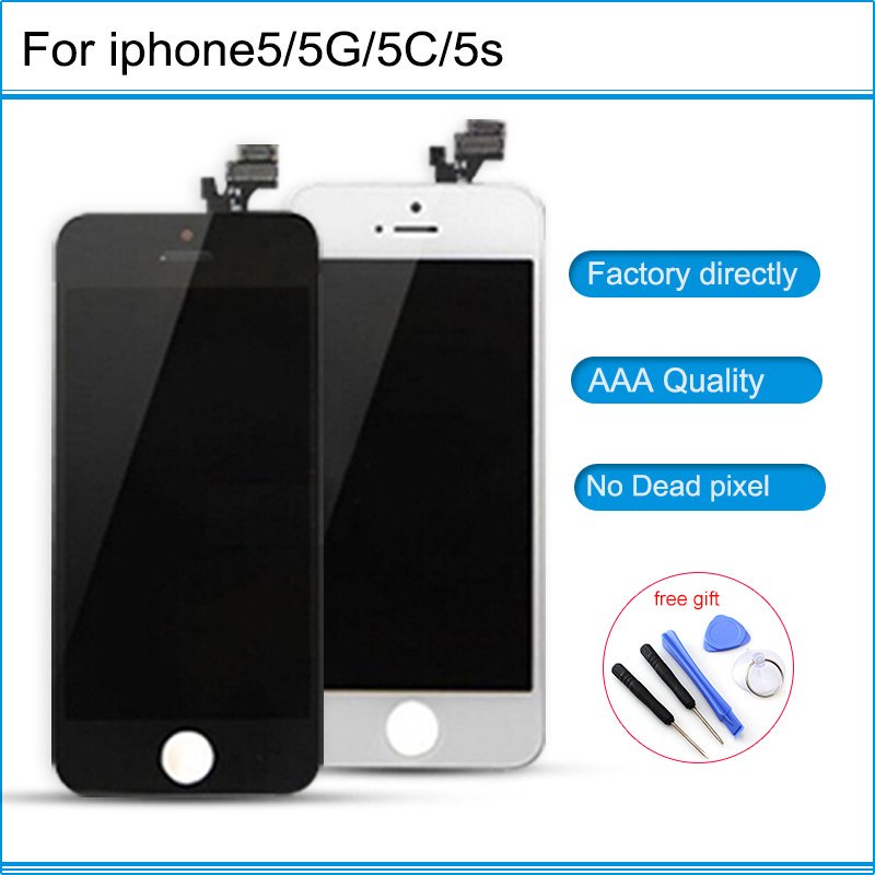 NEw AAAA Grade LCD Touch Screen Digitizer Assembly Front Screen LCD Display Replacement in White and Black For iPhone 5 5G 5C 5S