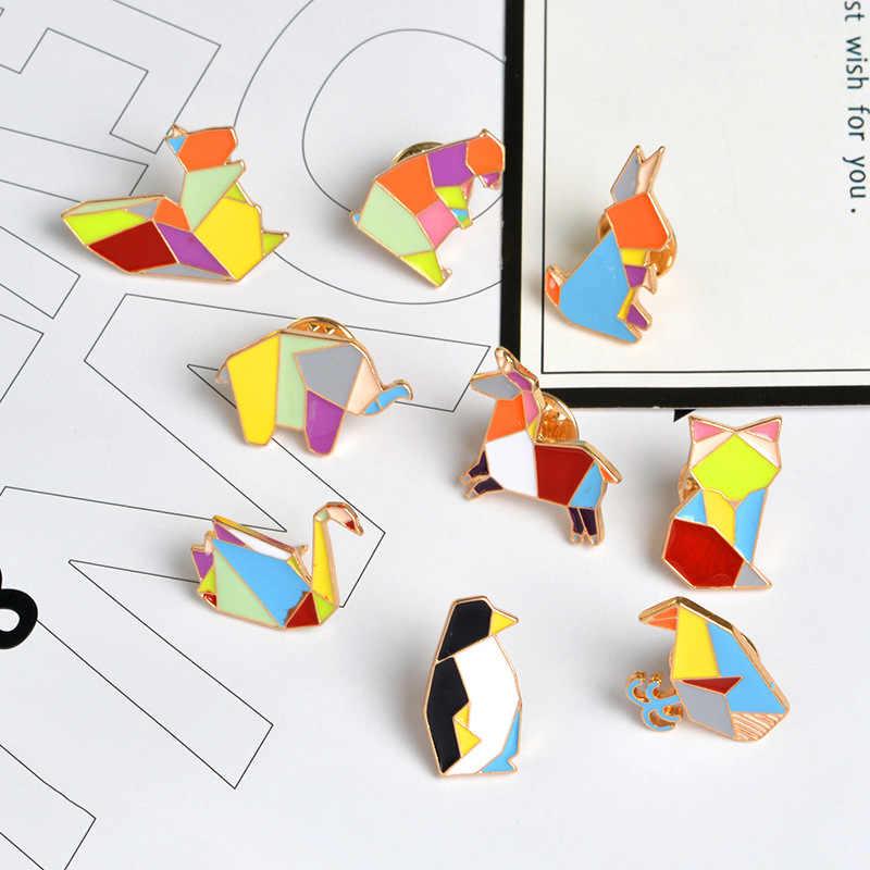 Moda odznaka origami żuraw królik pingwin słoń kot gęsi wieloryb koń broszka kolorowe szwy zwierząt emalia broszka biżuteria