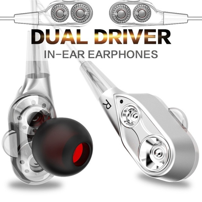 3.5mm Double Unit Drive Earphone Bass Subwoofer Stereo Earphones With Microphone Sport Ear