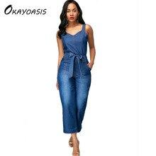 733bb7b93c93 OKAYOASIS Free Shipping 2018 Women Blue Tie Waist Denim Jumpsuits Spaghetti  Stapless Female Elegant Casual Jeans Jumpsuits