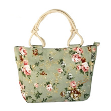 купить 2019 Casual Women Floral Leaves Printed Canvas Shoulder Bag Shopping Bag Large Capacity Tote Beach Bags Casual Tote Feminina дешево