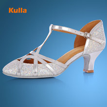Kulla Glitter Shining Latin Dancing Shoes For Women High Heels Ballroom Tango Dancing Salsa Shoes Adult Soft Outsole Chaussure