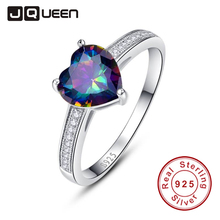 Women Luxury Brand Jewelry 925 Silver Heart Cut Classic Ring Gem Rainbow Topaz Heart Rings for Wedding Engage Size 6 7 8 9