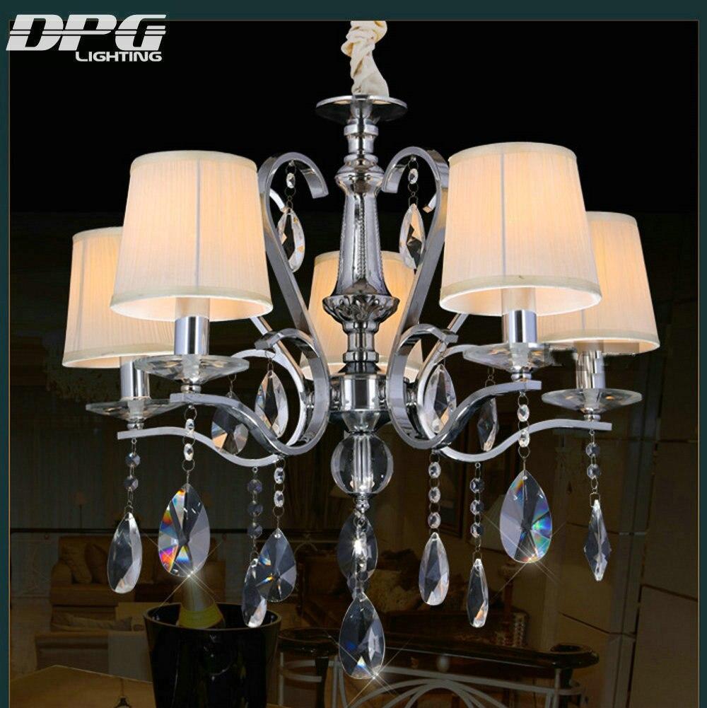 Modern 220v 110v E14 LED polished chrome flush mount K9 crystal chandeliers lights with down shades home lighting living room