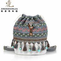 Women Bohemian Style Backpack Ladies Fancy Bags Canvas Shoulder Bag Boho Cotton Fabric Bag National Ethnic