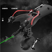 цена на New Green Color Laser Slingshot High Velocity Black Hunting Bow Fishing Slingshot Shooting Catapult Sling Shot Crossbow Bolt