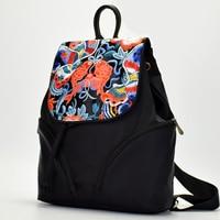 2018 Flowers&Fish Embroidery Nylon String Backpack Designer High Quality School Bag Drawing Backpacks For Teenage Girls Back Bag