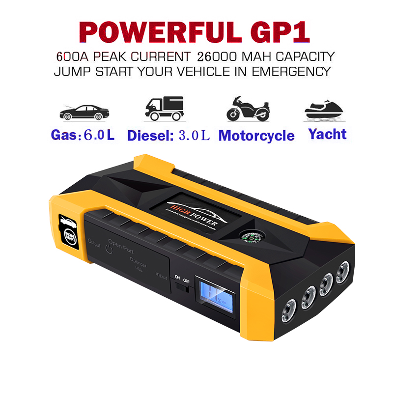 Car Emergency Power Jump Starter 20000mAh Starting Device Power Bank Portable 600A Peak Current Charger Car Battery Booster ikki wallet style 20000mah power bank w flashlight for samsung note 10 1 n8000 p6000 more