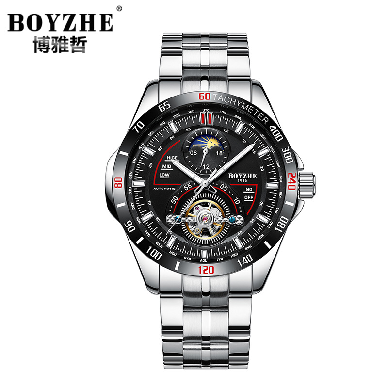 BOYZHE brand mens wristwatches Automatic mechanical stainless steel man watches Tourbillon waterproof moon phase male clocks mens watches mechanical automatic stainless steel waterproof man wristwatches fashion hollow oubaoer brand luxury men s clocks