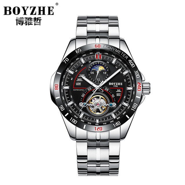 eb37ee8a694f BOYZHE marca mens Relojes Hombre de acero inoxidable mecánico automático  relojes Tourbillon impermeable Luna fase relojes