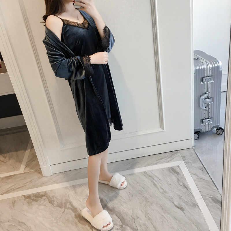 Женский сексуальный Бархатный комплект из 2 предметов, женская осенняя одежда для сна, кимоно купальный халат, домашнее платье, зимняя теплая кружевная ночная рубашка в стиле пэчворк