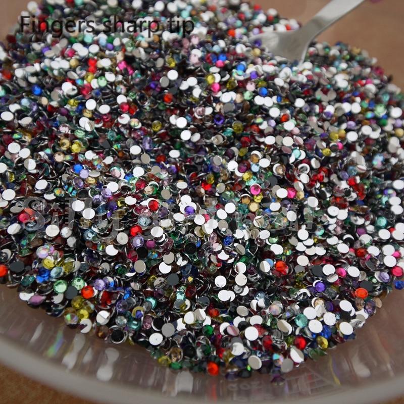 1000 piezas SS10 Dither 14 facetas resina rhinestone redondo - Arte de uñas