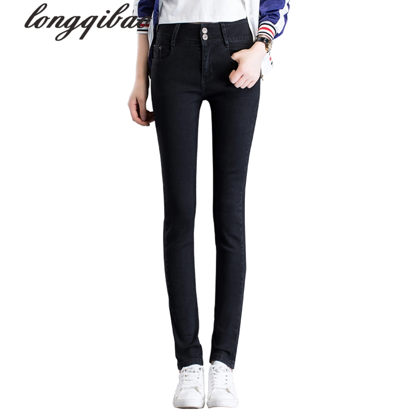 Spring and Autumn high waist jeans women 's trousers students stretch large size Slim pencil pants TB106 women jeans large size high waist autumn 2017 blue elastic long skinny slim jeans trousers large size denim pants stretch female