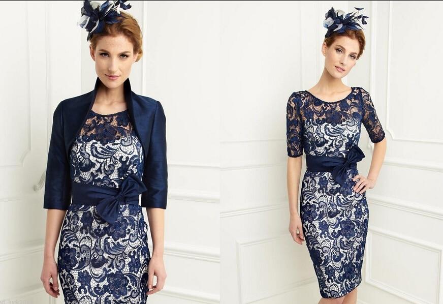 2018 Новий короткий плаття для матері нареченої Темно-синій мереживний жакет без особливих зусиль Унікальний вечірня сукня Prom Bal Bal Length
