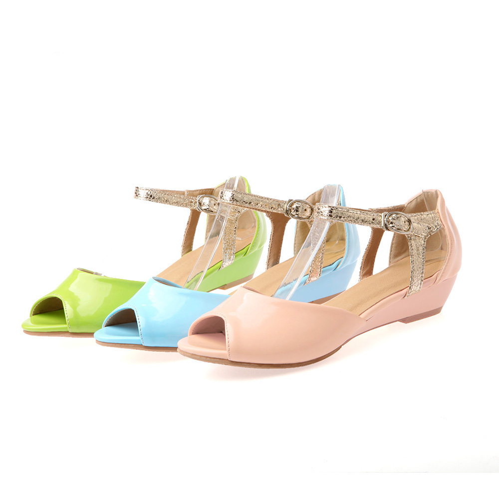85d24bb842567 Ankle Strap Wedge Sandals Women 2014 Fashion Dress Shoes For Women Low Heel  Patent Leather Shoes Green Blue Pink LIY206-in Women s Sandals from Shoes  on ...