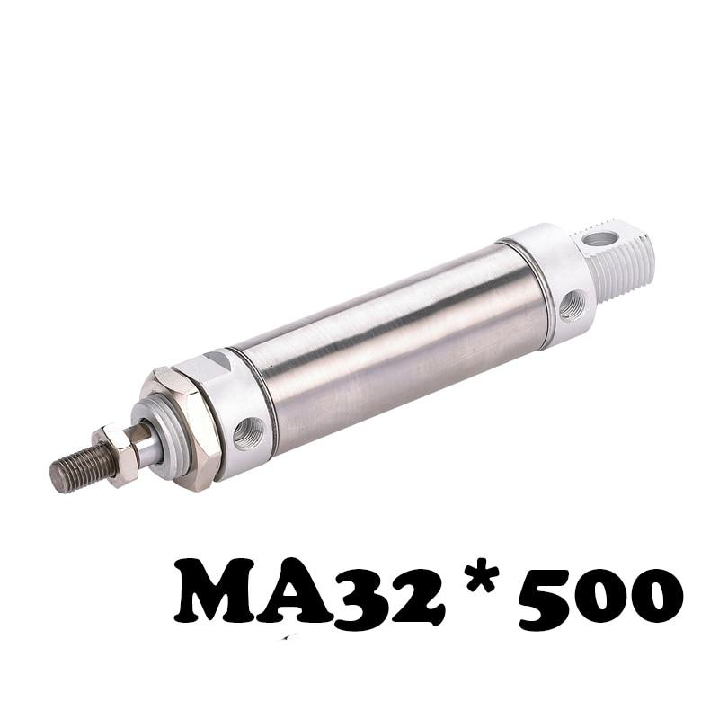 все цены на MA 32*500 Stainless steel mini cylinder Single Rod Double Acting MA 32*500 500mm Stroke Pneumatic Cylinder онлайн