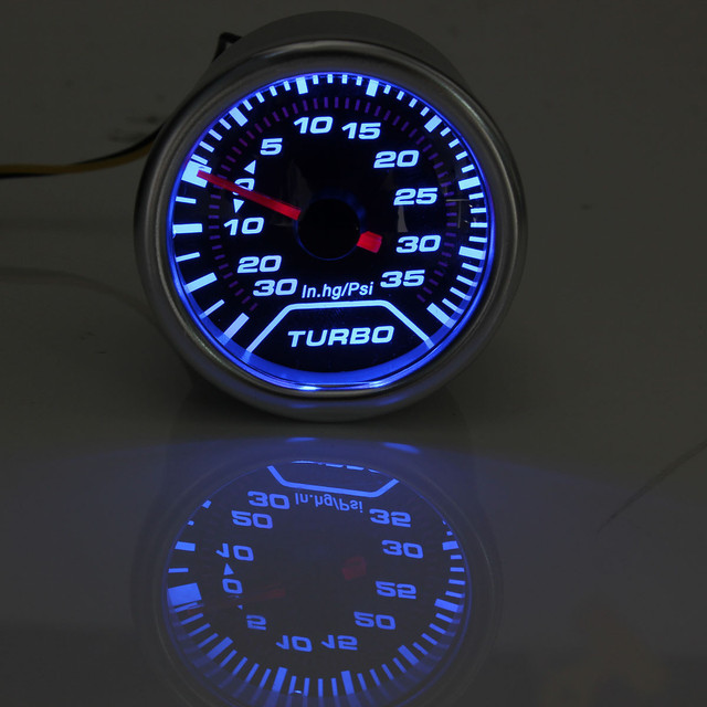 "Chrome Ring 52mm 2"" Blue LED Turbo Boost Gauge Smoked Dial Face Vacuum Pipe"