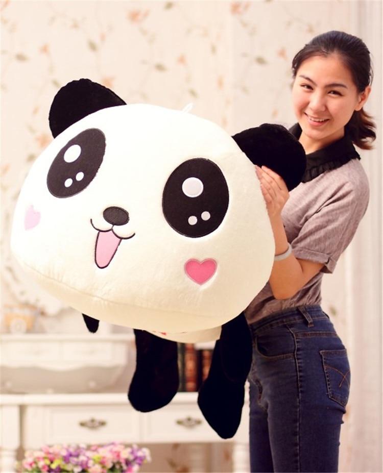 Belle peluche couché panda jouet grand sourire panda poupée avec des cœurs sur le visage cadeau environ 80 cm 105