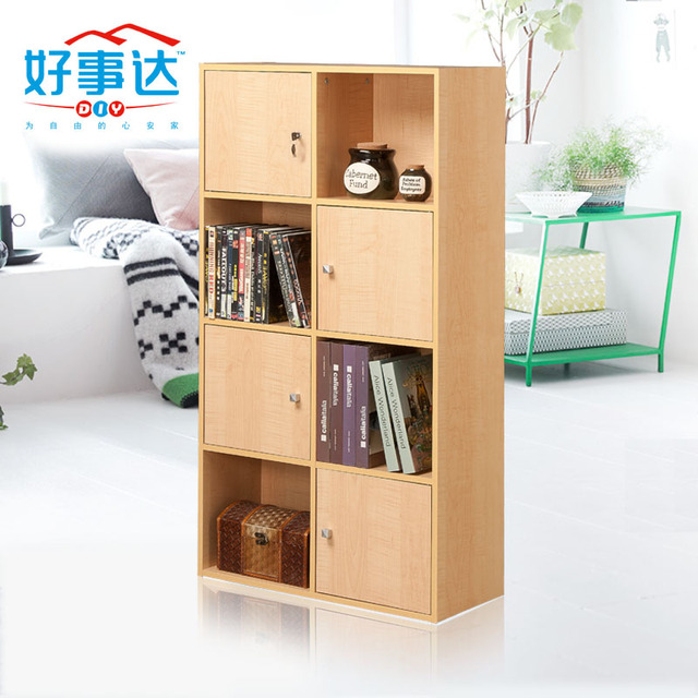 Allstate Simple Eight Lockable Storage Cabinets With Doors Bookcase