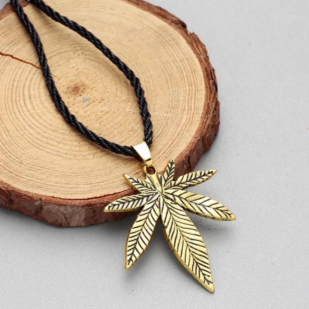 QIAMNI Punk liść klonu naszyjnik Big konopi Fimble liści afryki rośliny drzewa chwastów liści liści wisiorek naszyjnik mężczyzn biżuteria urok