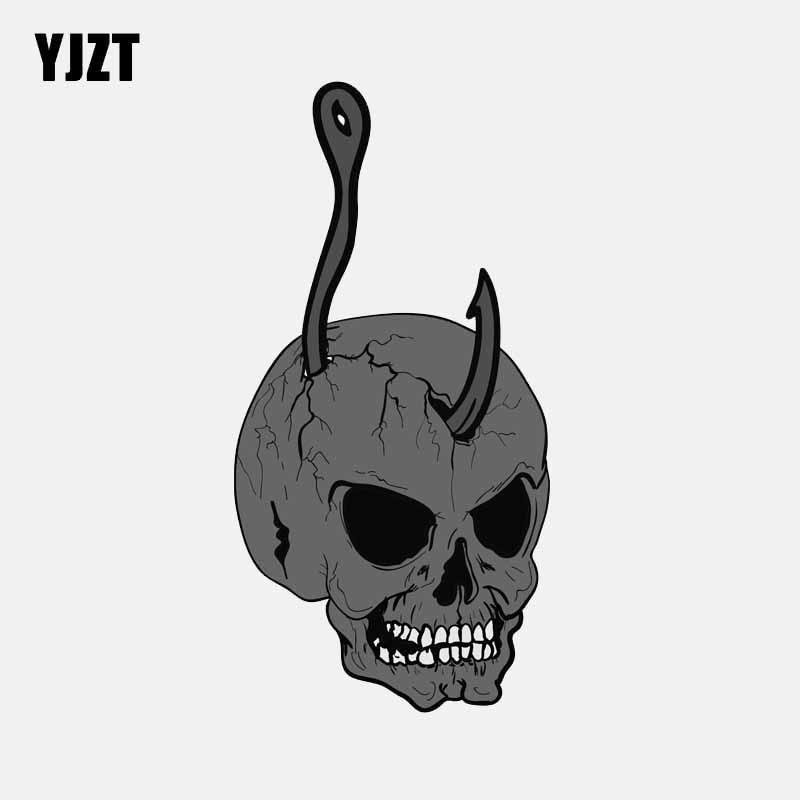 YJZT 7,1 см * 14 см автомобильные аксессуары крюк стиль череп головы автомобиля стикер окна наклейка 6-2579