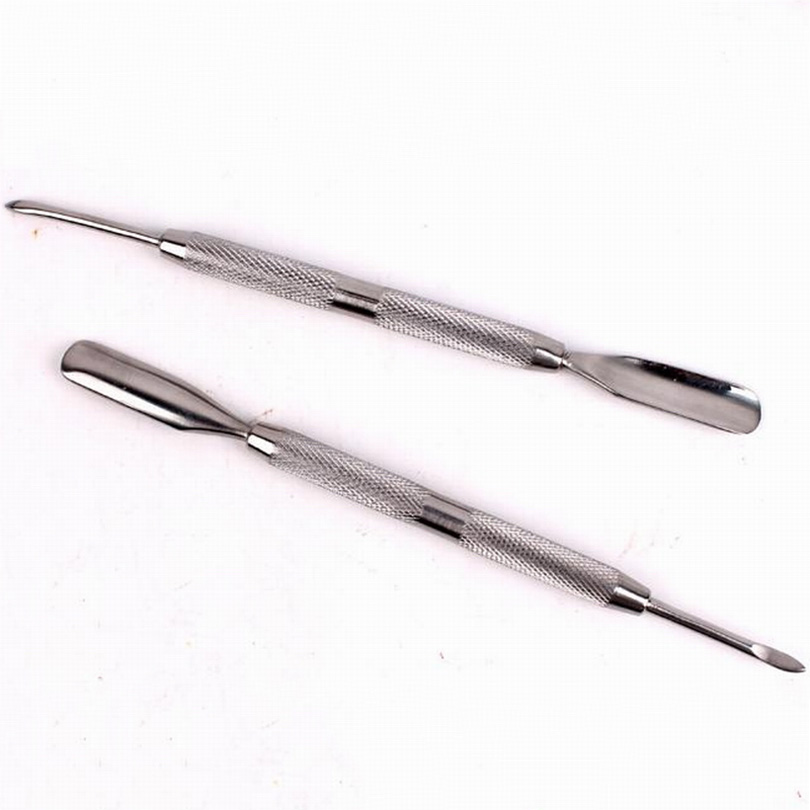 1Pc Skönhet Stainless Steel Cuticle Nail Pusher Cuticle Nail Spoon Remover För Manicure Pedicure Tool