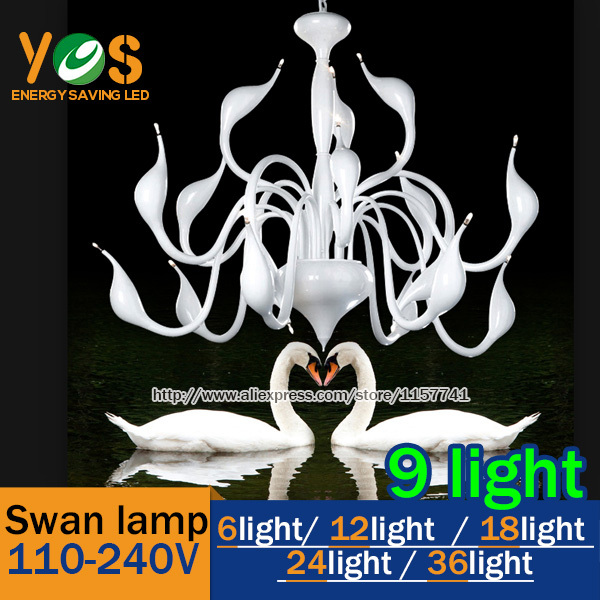 hot selling 9 lights fashion Swan chandelier modern lamp red/white/black/silver - YOS LED store