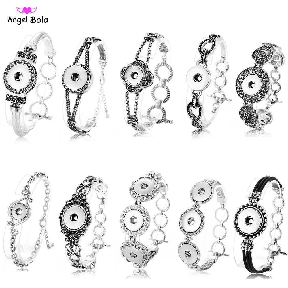 Nowa bransoletka Snap Ginger kobiety wymienne biżuteria Fit 18mm przystawki przycisk Vintage Snap Charms kryształowe bransoletki i Bangles