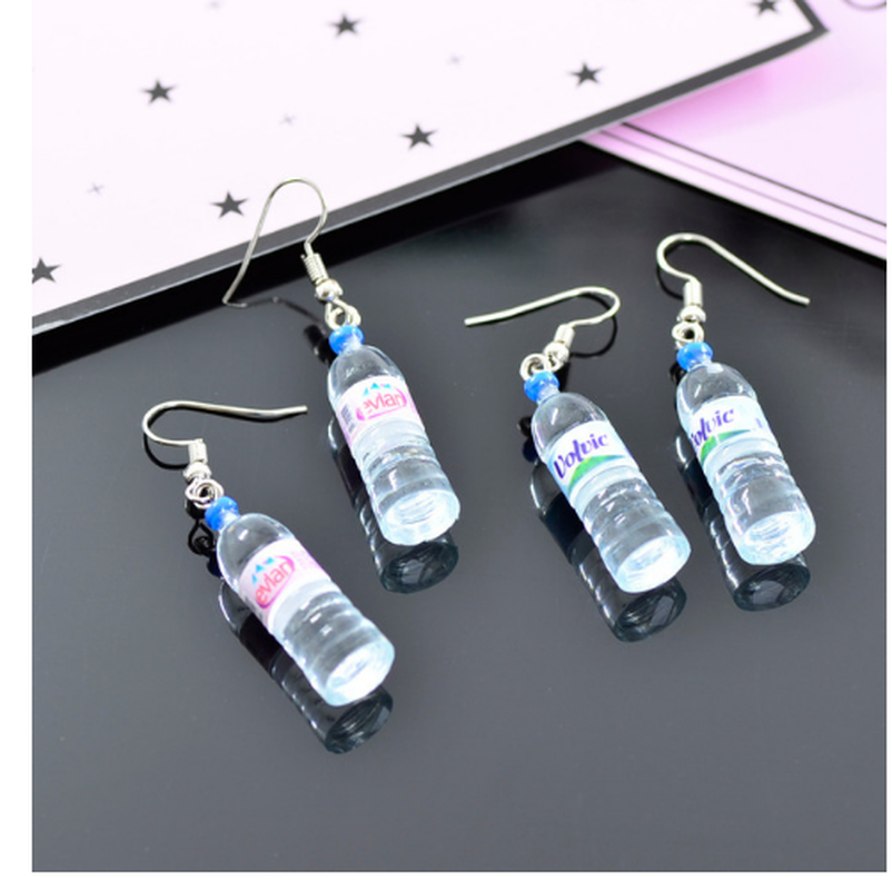 1PC Creative Simulation of Mineral Water Bottles Earrings Cute Handmake Earrings Woman's Fashion Jewelry Gift