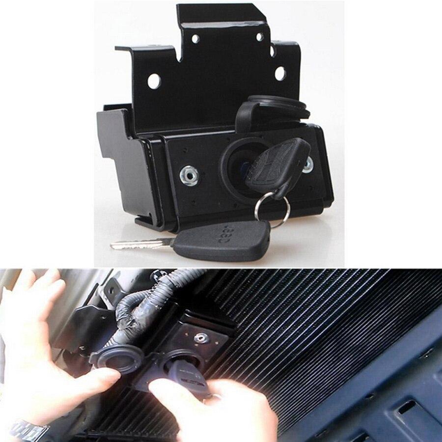 ФОТО 1PCS Hot Sale Black Anti Theft Latch Engine Hood Cover Bonnet Lock With Key High Quality Locking For Jeep Wrangler 2007-2015 JK