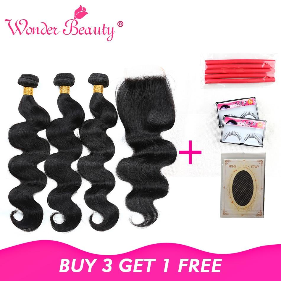 Wonder Beauty Hair Brasilian Body Wave Non Remy Menneskehår - Menneskelig hår (for svart)