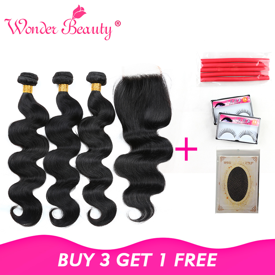Keajaiban Rambut Kecantikan Gelombang Tubuh Brazilian Non Remy - Rambut manusia (untuk hitam)