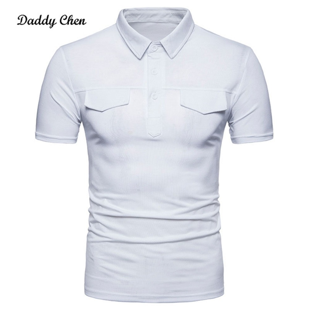 Casual Summer Double Fake pocket cover poloshirts short sleeves men Slim fit Solid shirts male brand white poloshirt 2018