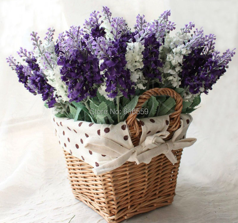 10pcs lot artificial lavender silk flowers bouquet for Artificial leaves for decoration