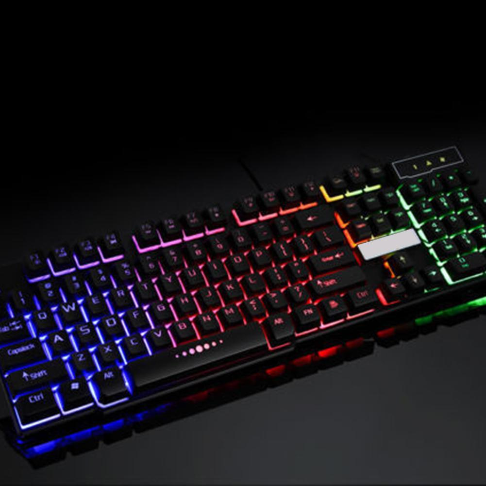 Hot Sale 104 Keys Colorful LED Mechanical Keyboard LED Illuminated Backlit USB Wired Desktop Gaming Keyboard