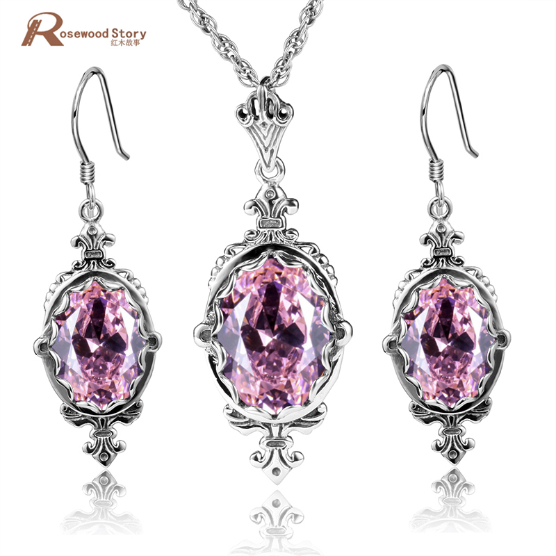 Mode 925 bijoux en argent Sterling ensembles pour femmes rose CZ pierre cristal Royal mariage pendentif/boucles d'oreilles Style Vintage victorien