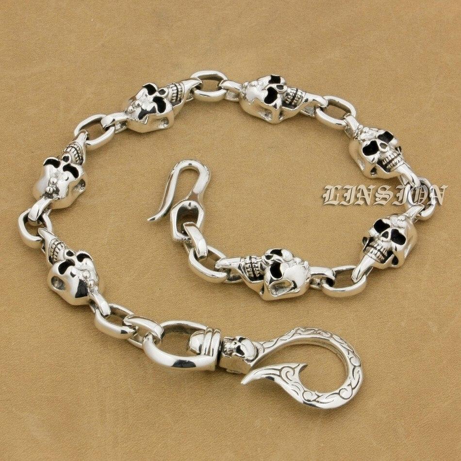 925 Sterling Silver SKull Fish Hook Mens Biker Rocker Punk Wallet Chain 9T014 ALL Length Available