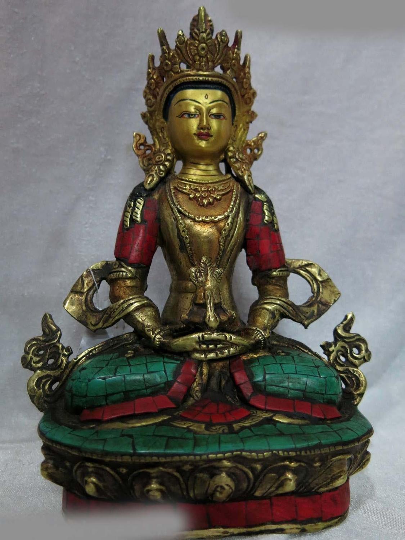 9 Tibet vecchio bronzo gild calaite scultura buddismo Ratnasambhava Statua di buddha A (0505)9 Tibet vecchio bronzo gild calaite scultura buddismo Ratnasambhava Statua di buddha A (0505)