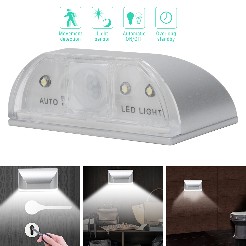 BORUiT Auto PIR Motion Sensor Night Light Lamp Door Keyhole Lights Wireless Under Cabinet Light For Kitchen Bedroom Closet Light