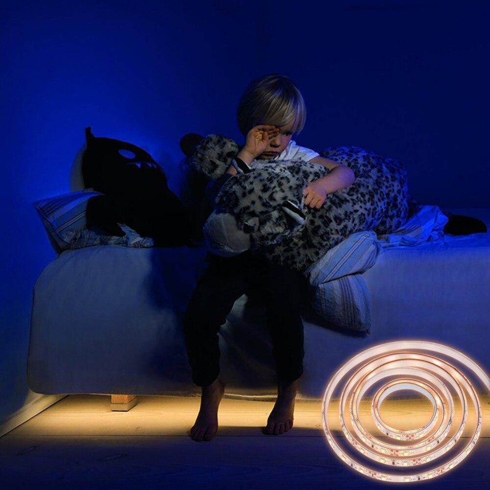Ledgle 1.5M PIR Motion Activated Night Lights LED Timer Sensor Strip Light Bed Light DC12V/1A IP65 Waterproof