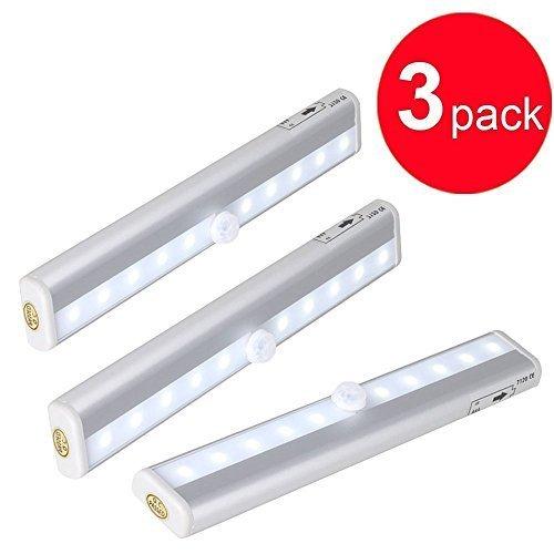 Lightinbox 3 pcs Portátil Vara-em Qualquer Lugar Sem Fio 10 LED Lâmpada Luz PIR Detector de Movimento Sensor De Luz Alimentado Por Bateria