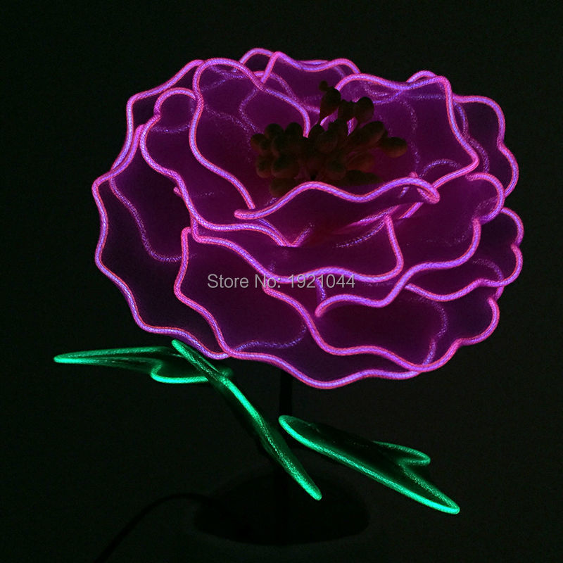 DC-3V Purple Peony LED Flashing Flower Neon glow light EL Wire Flower Luminous Party Colorful Glowing Gift For Party Decoration