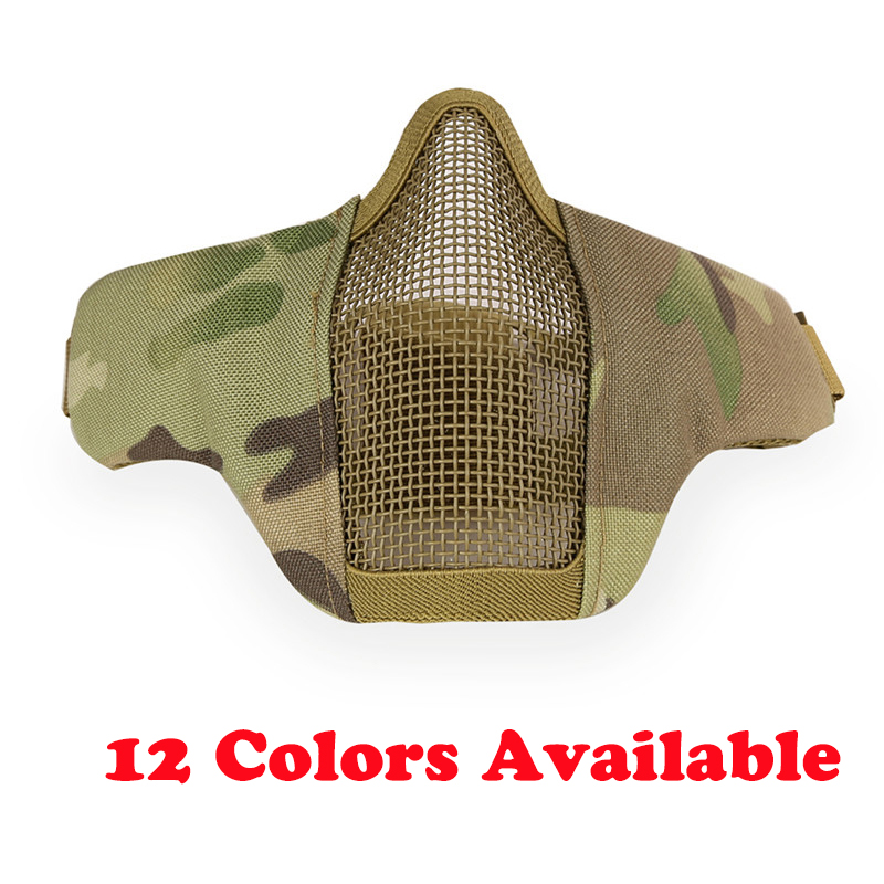 Hot Airsoft Mask Half Lower Face Metal Steel Net Mesh Mask Hunting Tactical Protective CS Halloween Party Half Face Mask