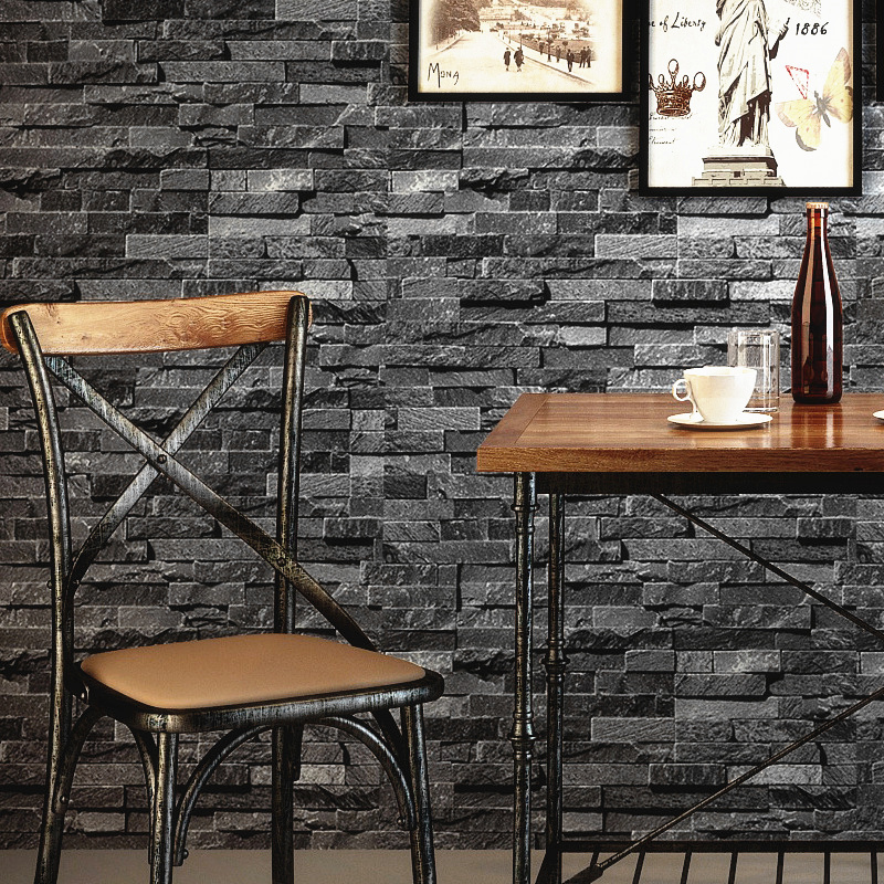 Retro Nostalgic 3D Effect Brick Wall Wallpaper Grey Stone Brick Wallpaper For Walls Roll Living Room Restaurant Wall Decoration