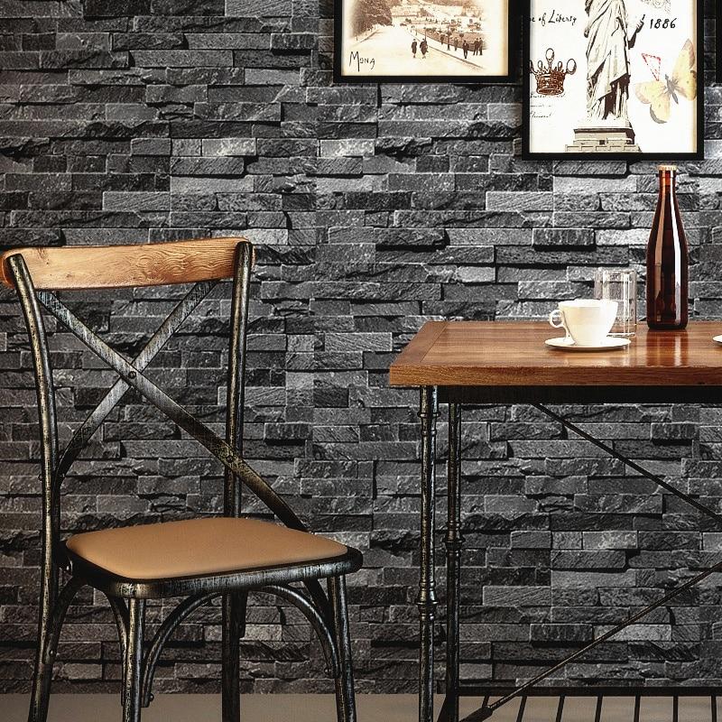Retro Nostalgic 3D Effect Brick Wall Wallpaper Grey Stone Brick Wallpaper For Walls Roll Living Room Restaurant Wall Decoration
