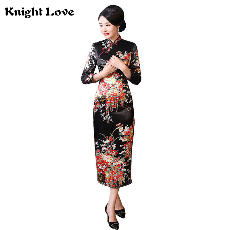 4262dd6f1 New Chinese Traditional Dress Femal Women Classic Satin Cheongsam Long  Sleeve Lady Qipao Dress Print Floral&Peacock